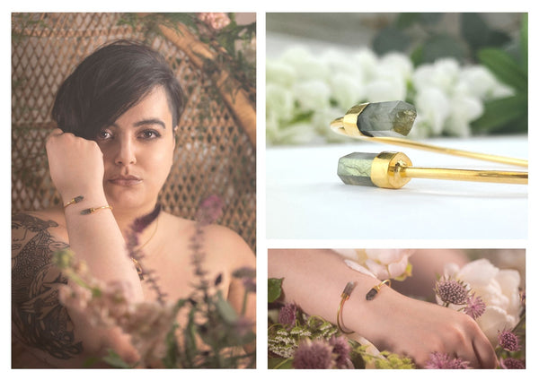 See our look book for more Gold Raw Turquoise Jewellery, Labradorite Hand Made by Ethical Brand Forage Design