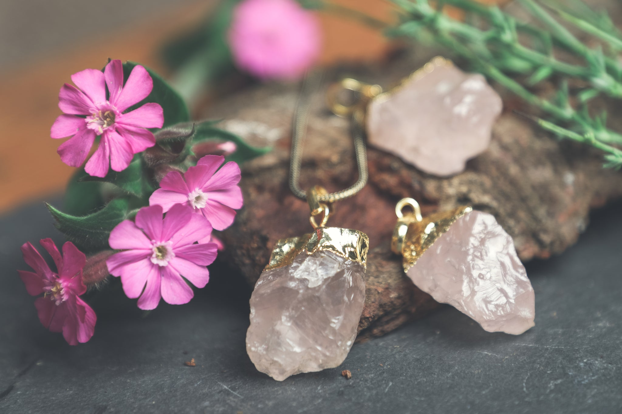 crystal jewellery, crystal necklace, bohemian apparel, festival fashion, ethical brand uk, rose quartz rough cut crystals