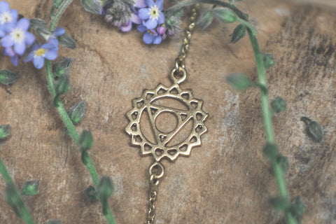 gold chakra jewellery, throat chakra, throat chakra jewellery, chakra charm, brass boho necklace