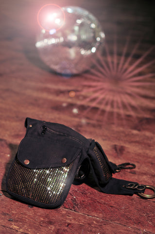 Seqion side bag with glitter ball | pocket belts | bumbag | sequinned fanny pack | festival fashion