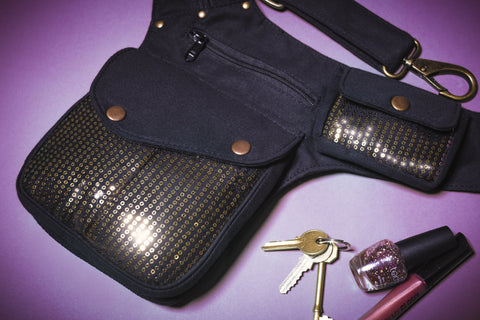 sequin side bag with keys and phone | money belt | practical luggage | stylish travel bag