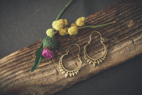 BOHO BRASS EARRINGS, TRIBAL JEWELLERY