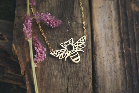 bee necklace, gold bee charm, do bees have a meaning, gift for lonely friend, is a bee a spirit animal