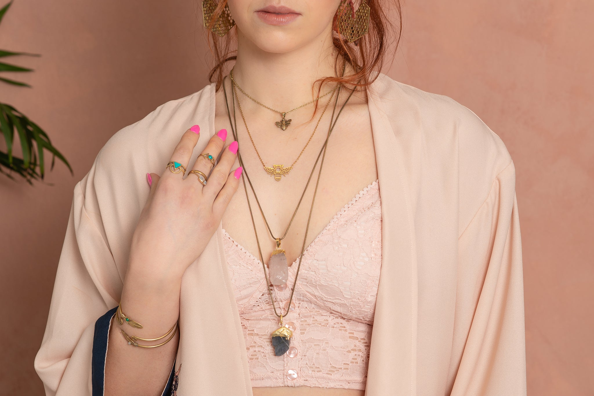 layered necklaces, stacking necklaces, boho necklace, crystal necklace, bee necklace, gold necklace, pink kimono