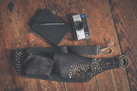 beautiful hand made bohemian pocket belts, boho utility belt, womens hip bag. with camera, pen and journal.