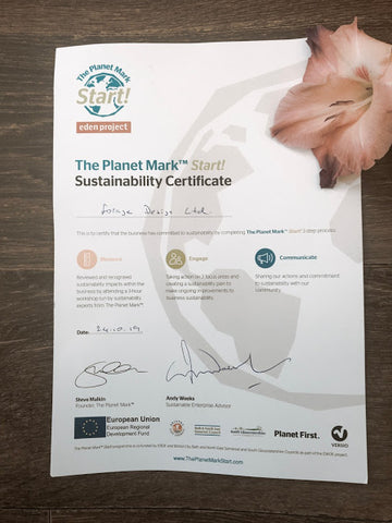 Forage certificate of sustainability from planet mark start