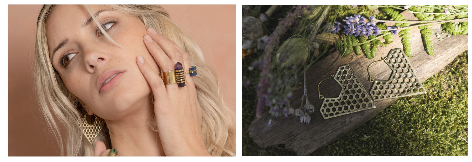 crystal pendulum ring, gold amythist ring, chunky rings, geometric jewellery, ethical company uk