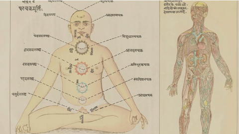 map of the chakras, traditional indian artwork, energy lines