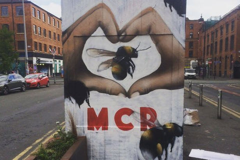 manchester bee, i heart mcr, manx bee meaning, bee symbology, bee jewelry, street art, manchester graffiti