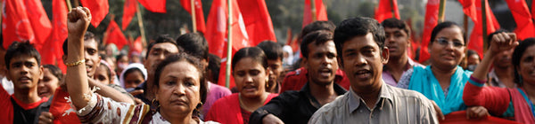 a march for workers rights in Bangladesh, sweatshops, fast fashion, exploitation, sustainable choice, fashion revolution.