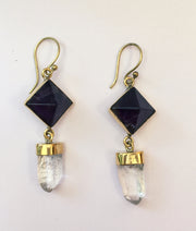 Quartz Crystal and Amethyst Pyramid Earrings