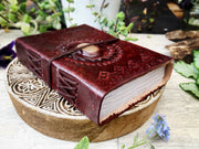 Leather Bound Book with Gemstone Detail