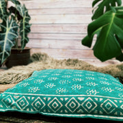 Hand Block Printed Boho Cushion - Turqouise