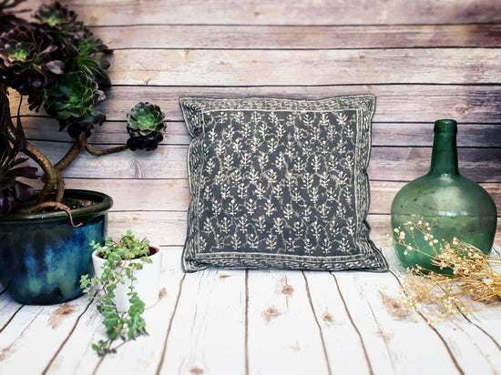 Hand Block Printed Boho Cushion - Slate