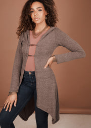 Hooded Cardigan with Clip closure