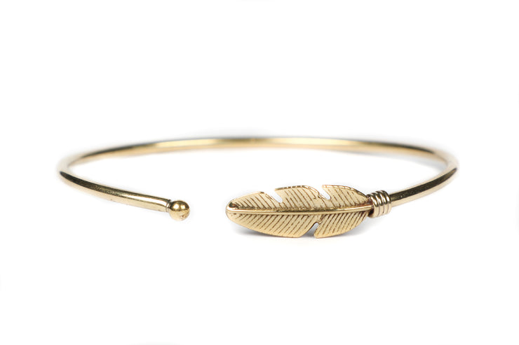 Brass Feather Wrap Bracelet