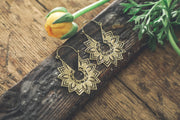 Brass Mandala Hoop Earrings