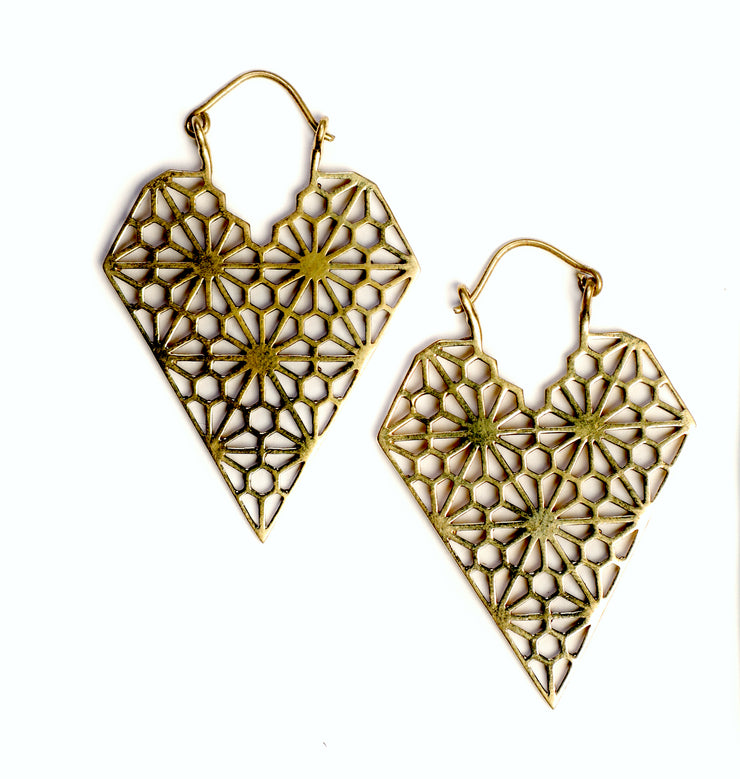 Brass Geometric Triangle Drop Earrings
