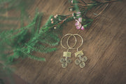 Brass Tribal Ethnic Thread Through Earrings
