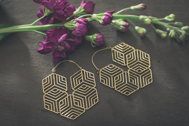 Brass Geometric Aztec Hoop Earrings