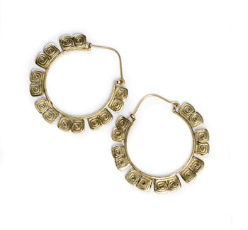 Brass Tribal Hammered Hoop Earrings