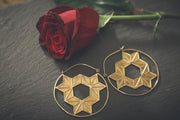 Large Brass Geometric Constellation Earrings