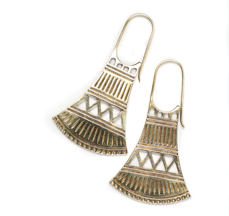 Brass tribal Design Earrings - Ariia