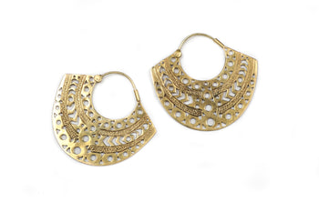 Brass tribal Design Hoop Earrings - Averii