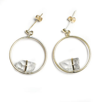 Quartz Crystal Circle Earrings: Ferelith