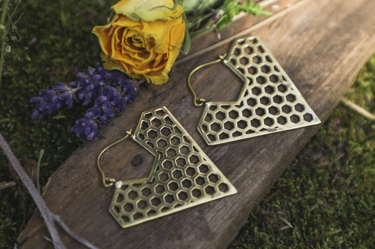 hexagon triangle earrings, brass earrings, tribal jewellery, boho jewelry, bohemian outfit, ethical fashion, sustainable jewellery