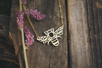 Geometric Bee Necklace, geometric jewellery, bee pendant, insect necklace, gboho jewellery, ethical fashion, sustainable brand uk