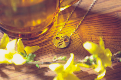 Bumble Bee necklace, simple pendant, boho jewellery, insect motif, bee symbol, bohemian jewelry, fair trade fashion company, sustainable brand