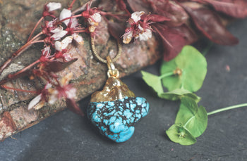 Raw Turquoise Gold Dipped Pendant