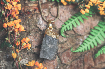 Raw Labradorite Gold Dipped Pendant