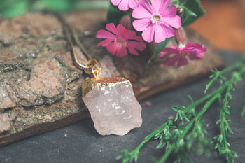 Raw Rose Quartz Gold Dipped Pendant