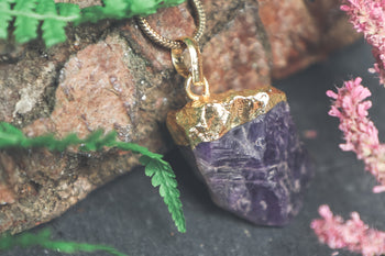 Raw Amethyst Gold Dipped Pendant
