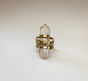 Clear Quartz Triple Band Scepter Ring