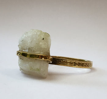 Raw Moonstone Band Ring