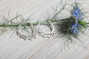 Silver Lotus Flower Hoops