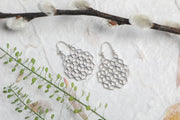 Silver Geometric Hoop  Earrings