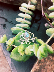 STERLING SILVER RING, LOTUS FLOWER, YOGA JEWELLERY, ETHICAL JEWELRY, FAIR TRADE SILVER RINGS, SUSTAINABLE BRAND UK