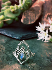 Moonstone ring, ethnic silver ring, boho jewellery, ethical jewelry, sustainable brands uk
