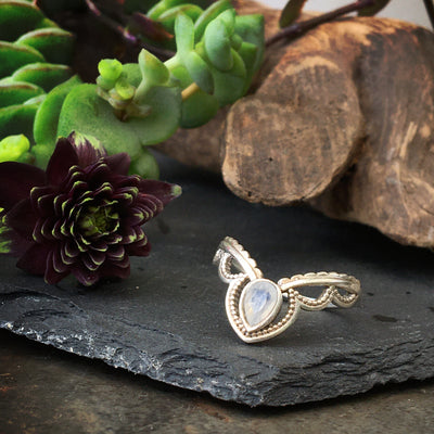 sterling silver boho ring, with a bohemian interior background, silver gypsy style jewellery, ethically made, bohemian ring, moonstone, june birthstone
