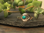 Silver Saturn Wrap  Ring - Turquoise
