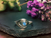 Silver Saturn Wrap  Ring - Labradorite