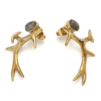 Antler Earrings With Labradorite Foragedesign Jewelry /