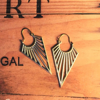 Aztec Brass Arrow Earrings Foragedesign Jewellery