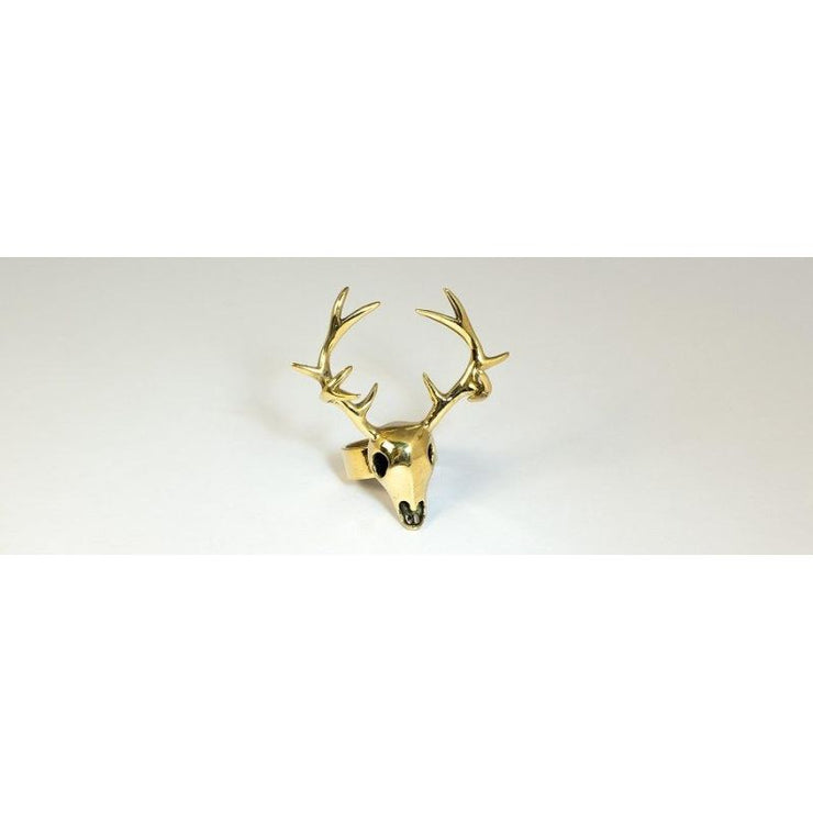 Brass Deer Skull Ring Foragedesign Jewelry / Rings