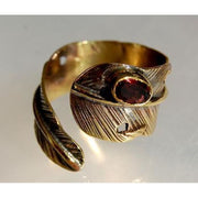 Brass Feather Wrap Ring With Amethyst Foragedesign Jewelry / Rings