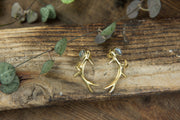 Antler Stud Earrings with Labradorite